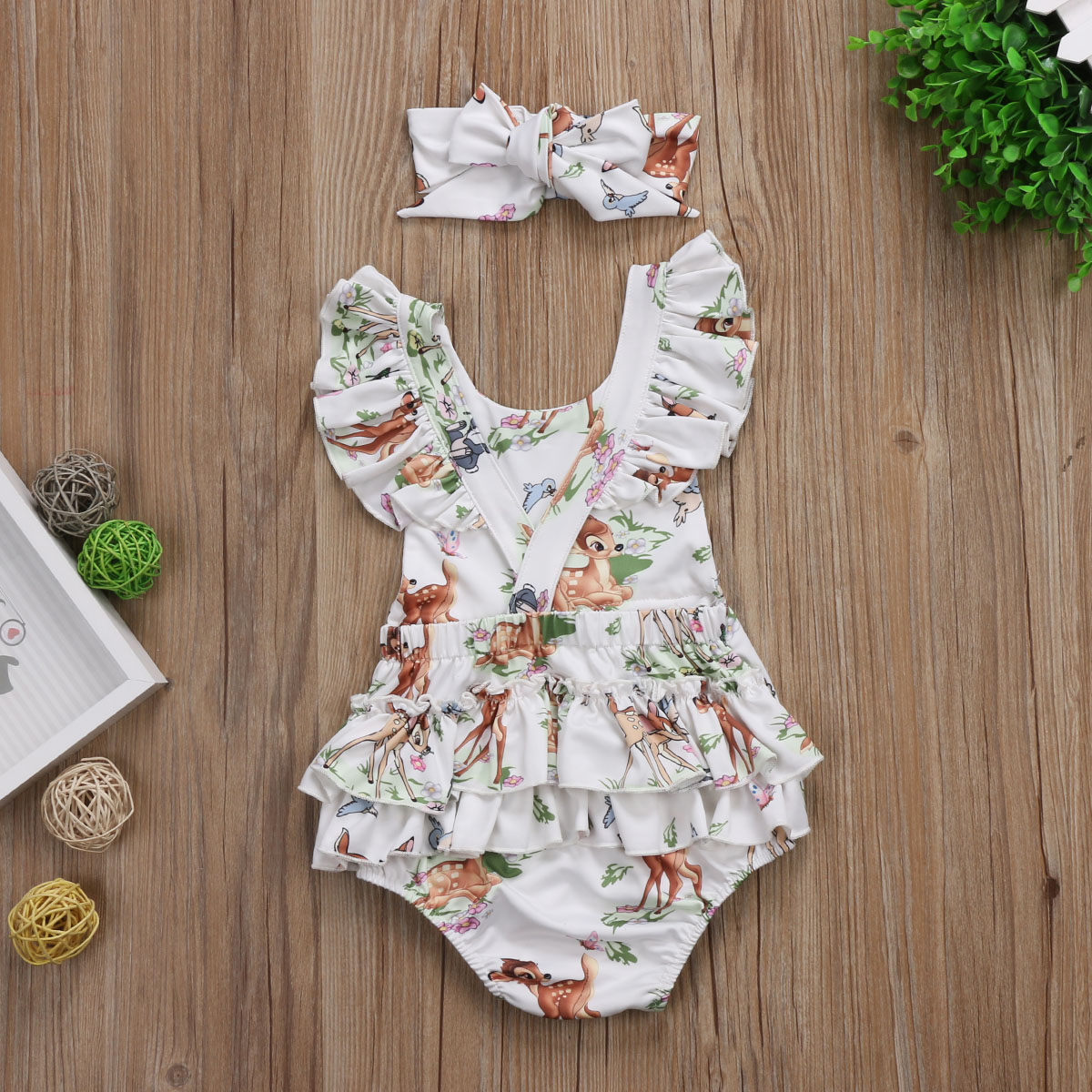 Bambi Cartoon Newborn Romper Baby Girl Clothes With Headband For New Born Clothing Set Girls Rompers For Baby Girl Outfit Onesie in Rompers from Mother Kids