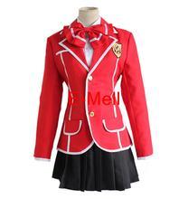 Anime Cosplay Guilty Crown Inori Yuzuriha Traje de Algodón tops falda camisa corbata de lazo Envío Gratis
