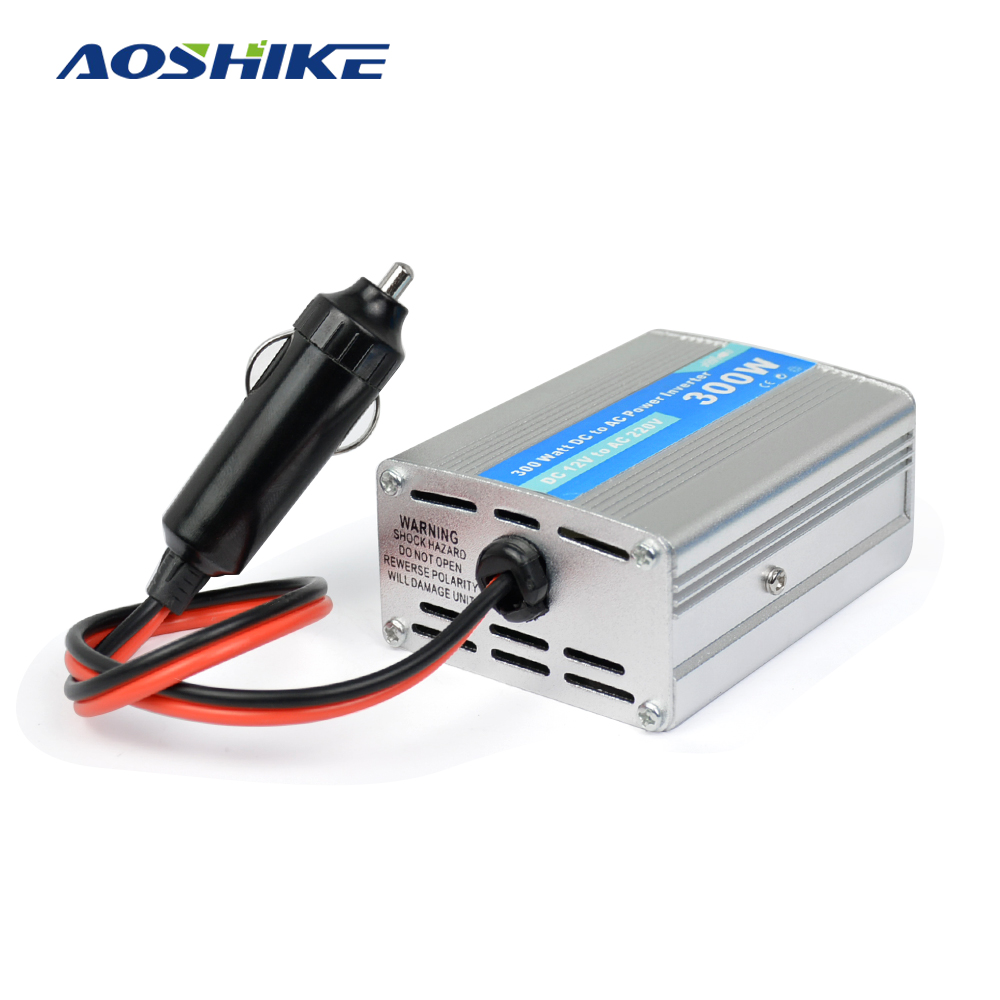 цена на Aoshike 300W Car Inverter DC 12V to AC 220V Auto Modified Sine Wave Power Adapter with Dual USB Car Charger