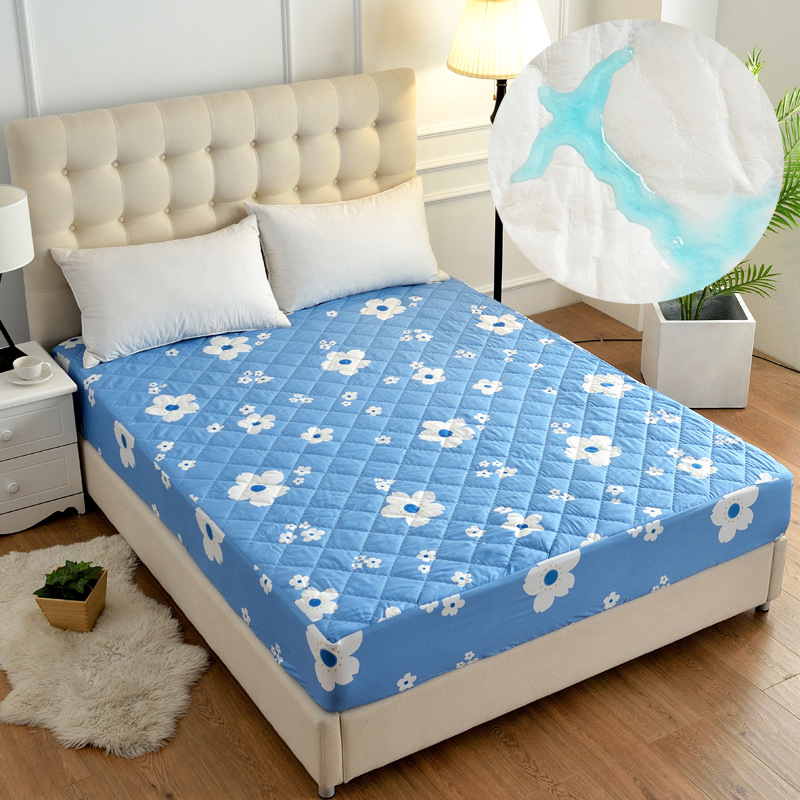 Pattern Smooth Waterproof Mattress Cover Anti Mites Pad Bed Sheet Bug Proof Topper