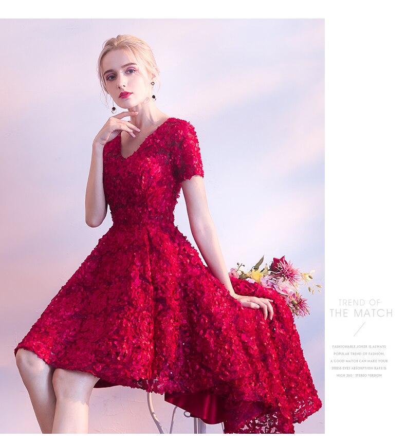 Женское вечернее платье кружевное с коротким рукавом и цветочным
