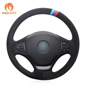MEWANT Black Suede Light Blue Blue Red Marker Car Steering Wheel Cover for BMW F30 316i 320i 328i
