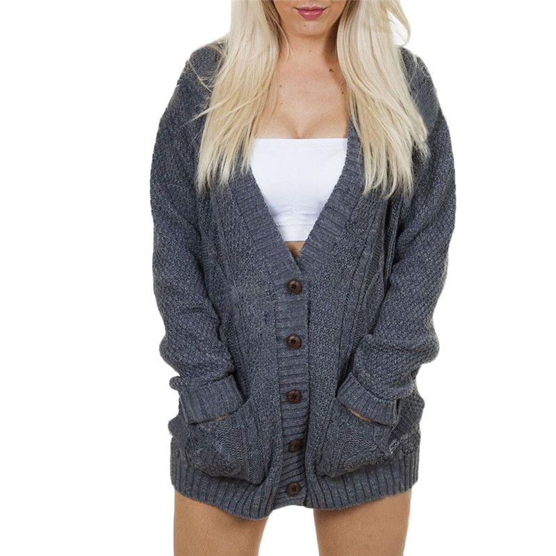 Autumn Spring Women Knitted Cardigan Fashion V-Neck Long Sleeve Solid Casual Knit Sweater Coat Female Button Cardigan streetwear