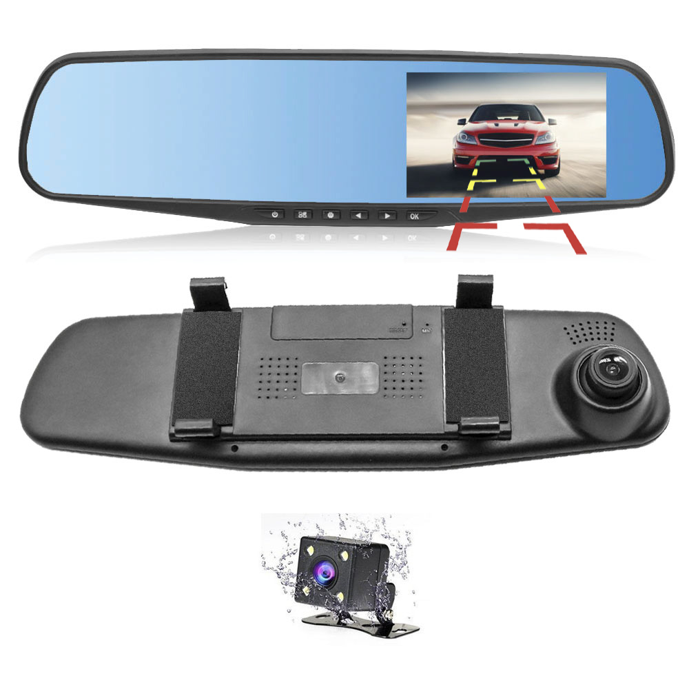 HGDO Car Dvr Dash-Camera Rearview-Mirror-Recorder Video G-Sensor Dual-Lens Night-Vision