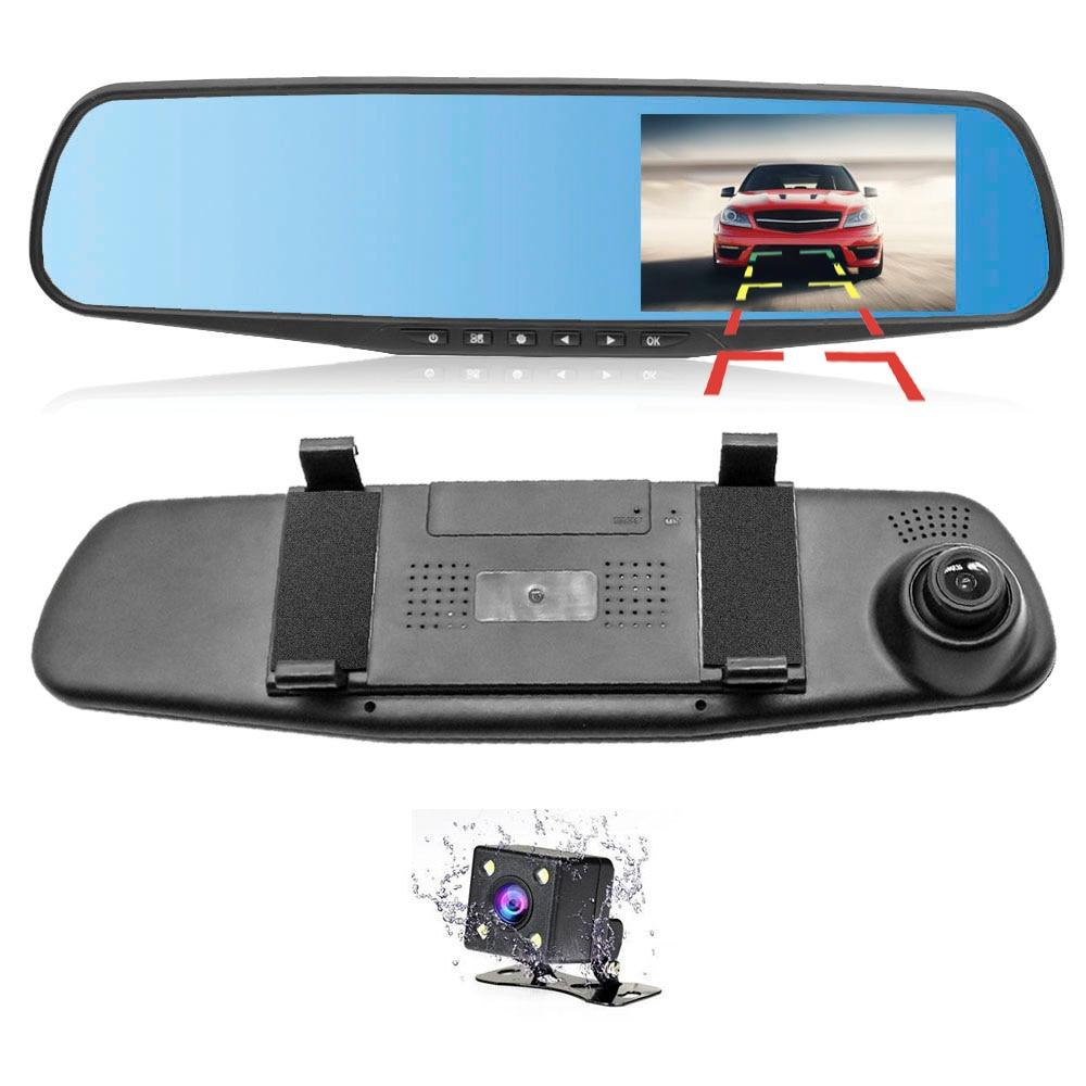 Dash cam Dual lens Car dvr Rearview mirror Recorder Full HD 1080P Video Auto Night Vision Dash camera G-Sensor HGDO rear-view mirror