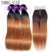 Ombre Peruvian Straight Hair Bundles With Closure Human Hair Extension 1b 30 Blonde Weave 10 26