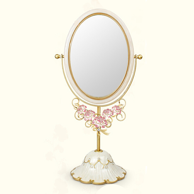 Beau Antique Gold Pearl White Jeweled Tabletop Swing Mirror With Decor Pink  Flower On Front