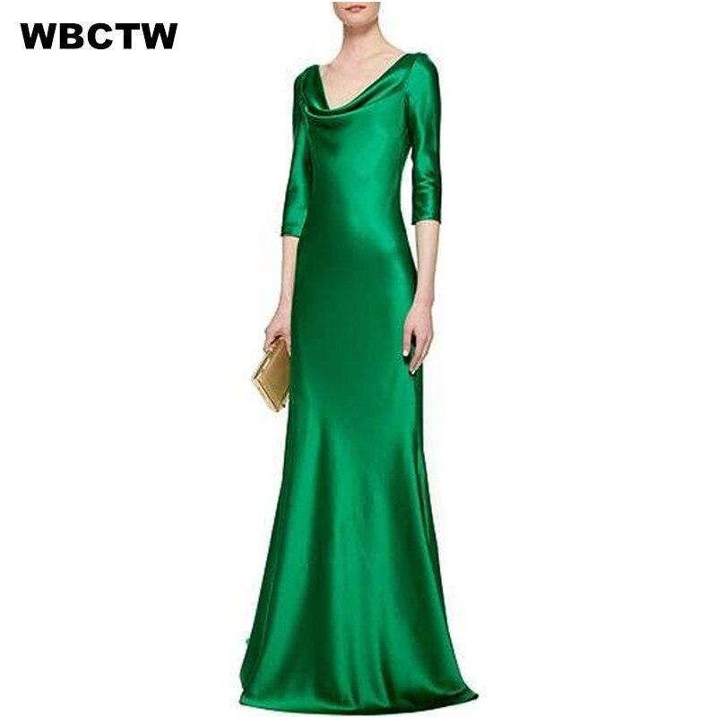 Emballement Robe Femmes 2017 Nouveau Trois Quarts Manches Gaine Étage Longueur Parti Robes Vert Rouge Fait Sur Commande Élégant Satin Robe