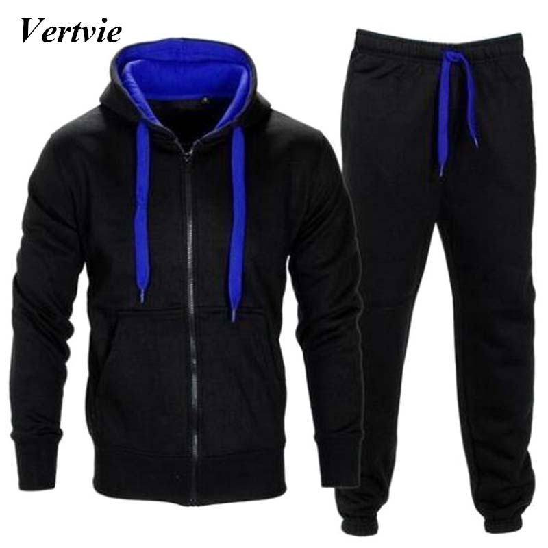 Vertvie 2PCs/Set Running Sets Men Thick Fleece Hooded Zipper Jackets Sport Pants Suit Mens Hiking Tracksuits Plus Size New 2018