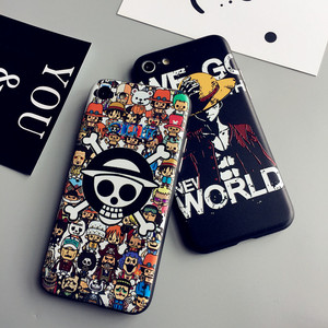 Image 4 - Luffy For iPhone 7 plus embossed case +front tempered glass   film for iPhone 7 8 6 6s plus phone cases soft protect fundas