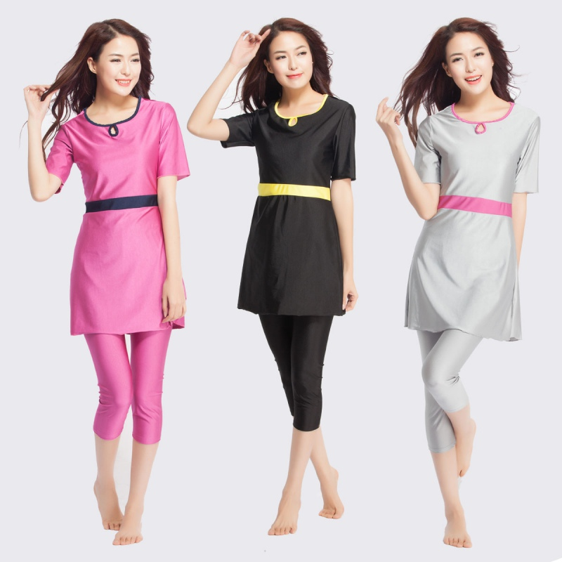 New Style Middle East Women Grls Muslim Islamic Swimming Suit Modest Short Sleeve Tops+Pant Swimwear Swimsuit Women