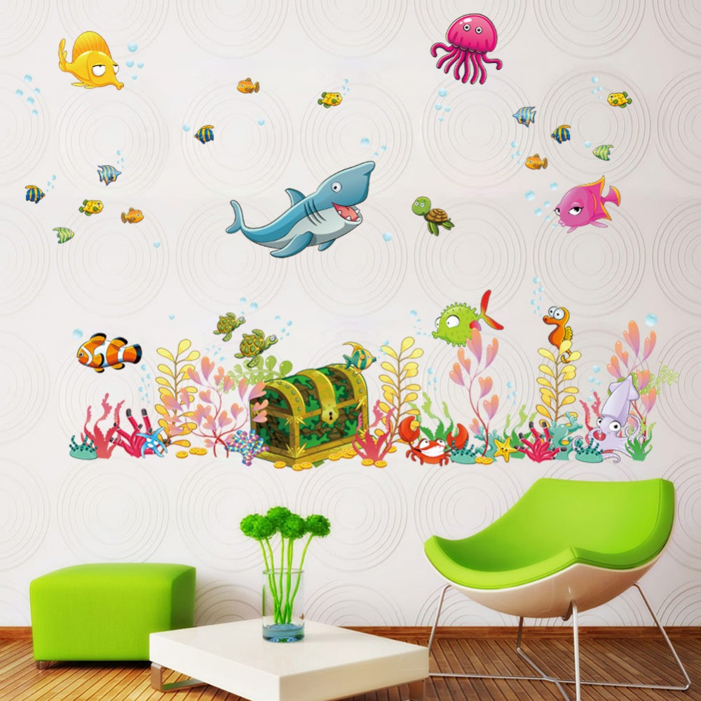 Shark Turtle Sea World Wall Decals Bathroom Decor Kids Nursery Stickers Mural China Mainland