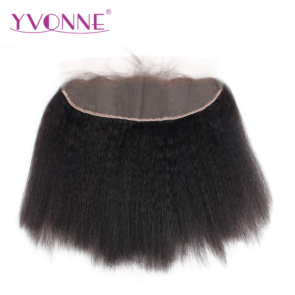 YVONNE Brazilian Kinky Straight Lace Frontal 13x4 Virgin Hair Natural Color 100% Human Hair Products