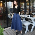 2016 nova venda quente de moda saias jeans meninas jeans Mini A linha de Mid bezerro saia ONEPACE
