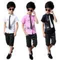 Summer Boys Shirt Sets New Short Sleeve Striped Tie Tops Casual Plaid Pants Fashion Children's Clothing For Kids  tyh-20661