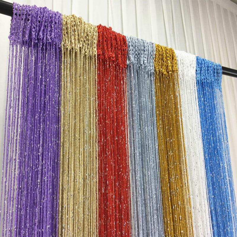 Glitter Fringe String Curtain Shiny Tassel Flash Silver Line String Curtain Window Panel Room Divider Fly Screen Door Hanging