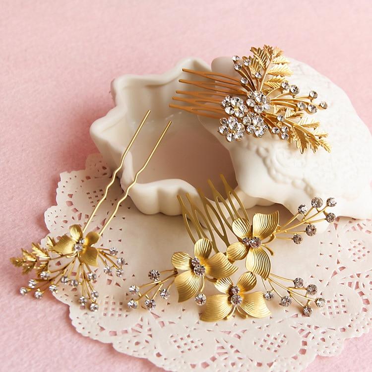 Us 969 31 Off3 Stücke Schmetterling Kämme Haarnadeln Sets Braut Braut Haar Zubehör Anzug Kopfschmuck Goldene Hochzeit Schmuck In Haarschmuck Aus