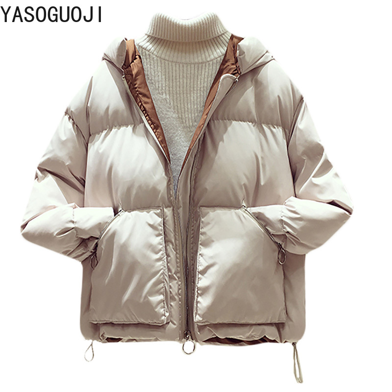 YASUGUOJI 2019 New Fashion Loose Hooded Short Puffer Jacket Women Thick Warm Cotton-padded Winter Coat Women Solid   Parkas   L045