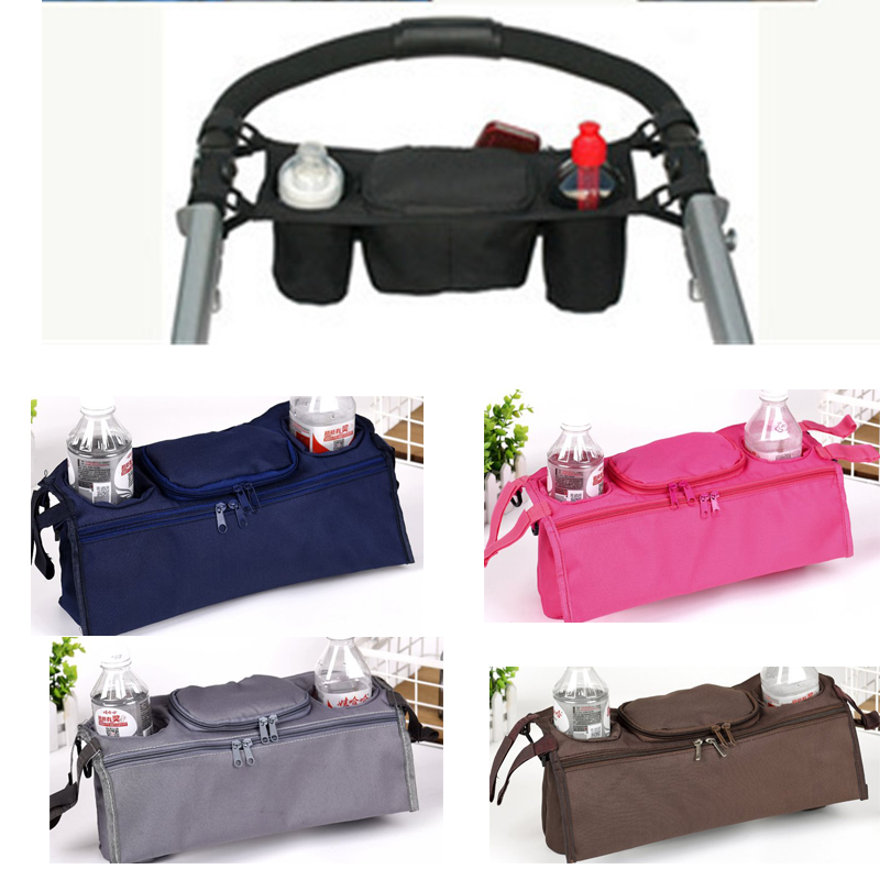 Kids Baby Stroller safe console tray pram hanging black bag//bottle cup holder