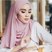 LARRIVED High Quality Solid color Pearl Bubble Chiffon Hijab Scarf Long Shawl Muslim Head Wrap Headband Ladies Foulard Femme