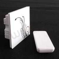 Touching Glass Panel Wall Switch 1 Gang 2way Touching Switch With RF 433MHZ Remote