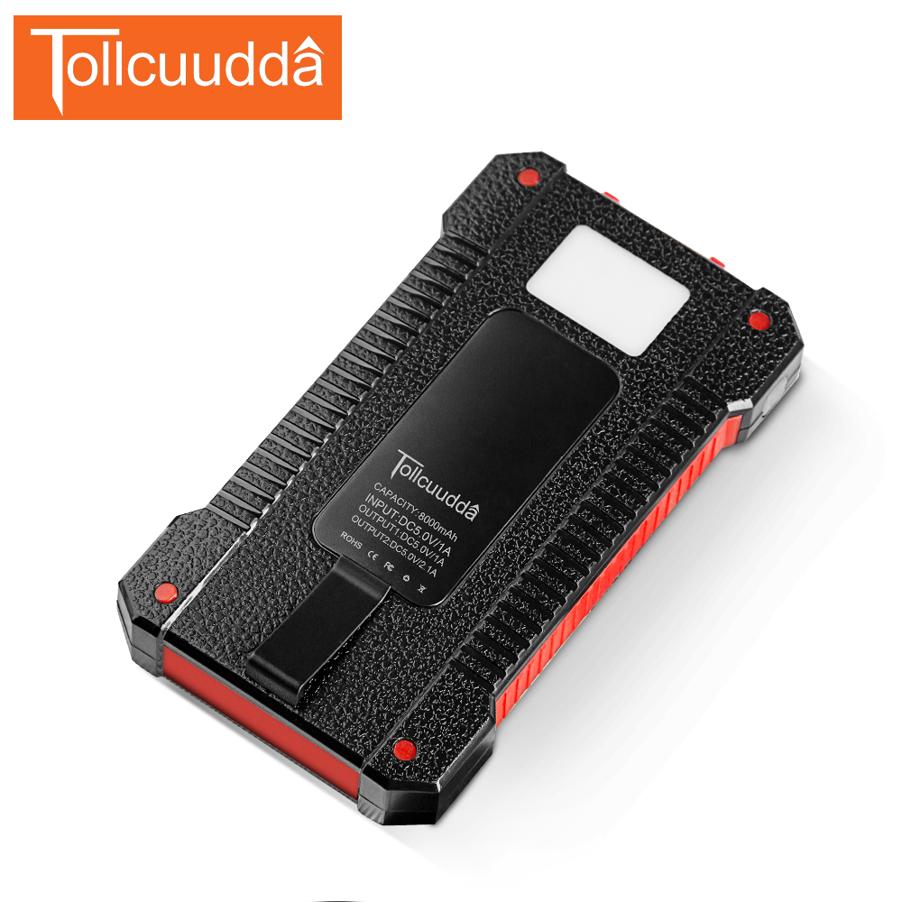 TOLLCUUDDA 8000mAh Emergency Power Bank With Solar Panel Charger Dual USB Portable External <font><b>Battery</b></font> Universal for All <font><b>Cellphone</b></font>
