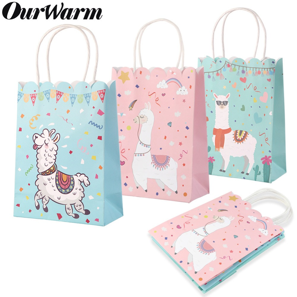 OurWarm 15Pcs Animal Alpaca Llama Paper Bags For Gifts Birthday Party Decorations Kids Favor Box Baby Shower Packaging Candy Bag