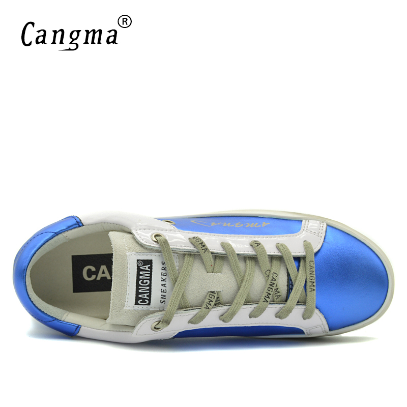Image 5 - CANGMA Blue Shoes Leather Men Genuine Men Casual Platform  Sneakers Shoes Adult Male Breathable Footwear For Men Valentine  ShoesMens Vulcanize Shoes
