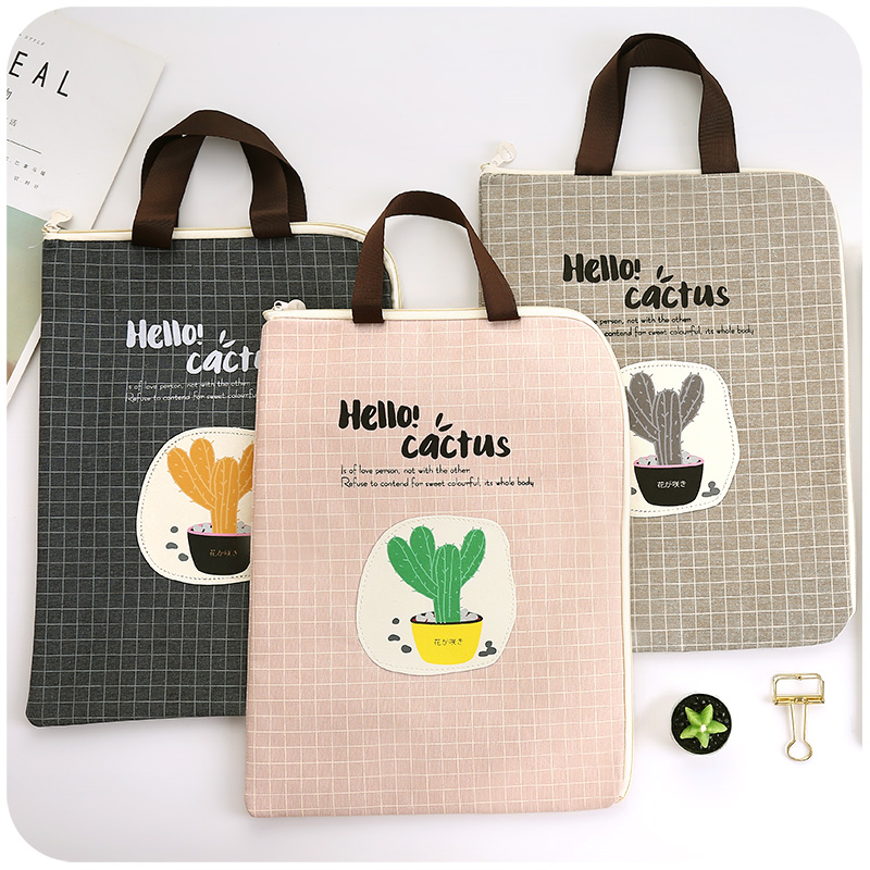 JIANWU A4 Kawaii Cactus File Double Pocket Oxford Cloth Bag Hand Carry Stuff Bag Folder Portfolio School Stationeries  Support