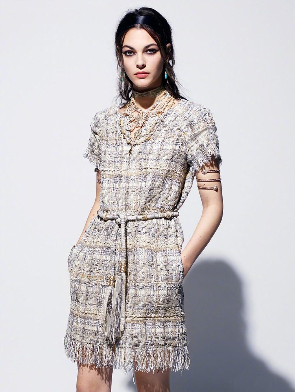 18 autumn Fashion show women's high-end quality tweed woven lace tassel dress Short sleeve miniskirt lattice Belt mini dress 19
