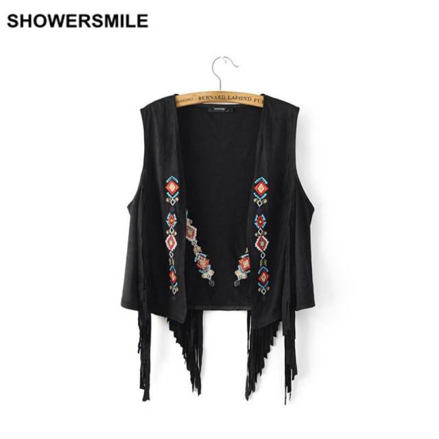 Fringe Suede Vest Women Spring Summer Faux Leather Tassel Embroidery Vintage Waistcoat Sleeveless Jacket Black Ladies Clothing