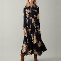 2018 za Women FORAL print shirt Flowing Pleated dress za loose print dresses vestidos Women Clothing vestidos