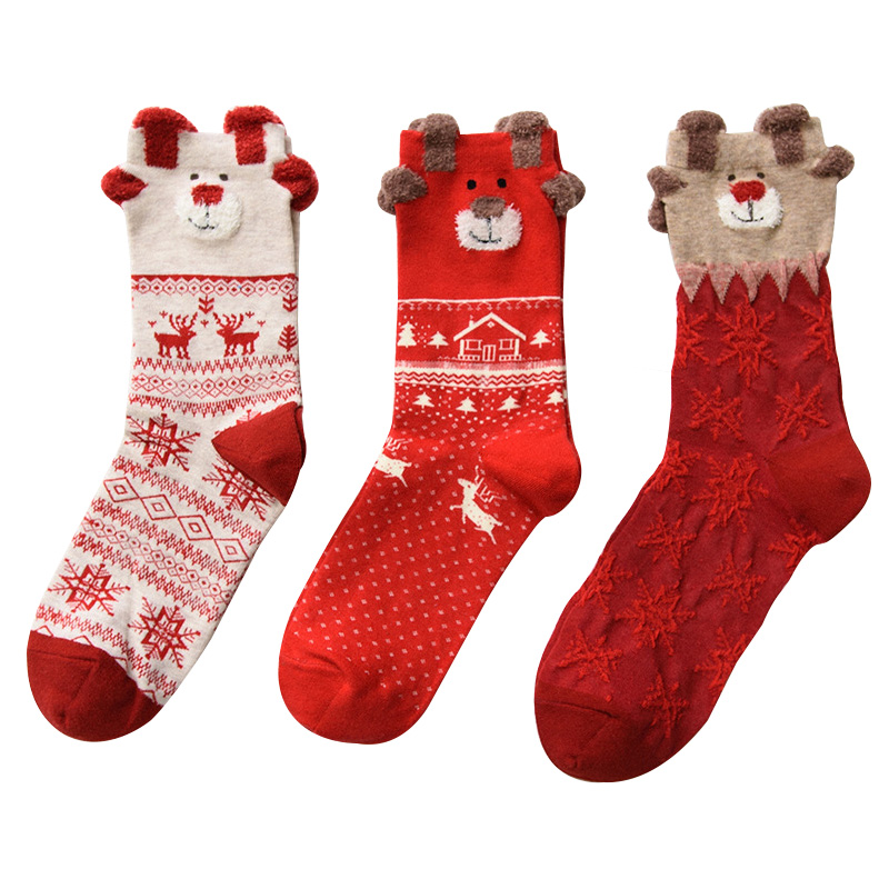 Clearance Christmas Socks,Christmas Cotton Socks Animal Christmas hat snowflake Winter Socks,