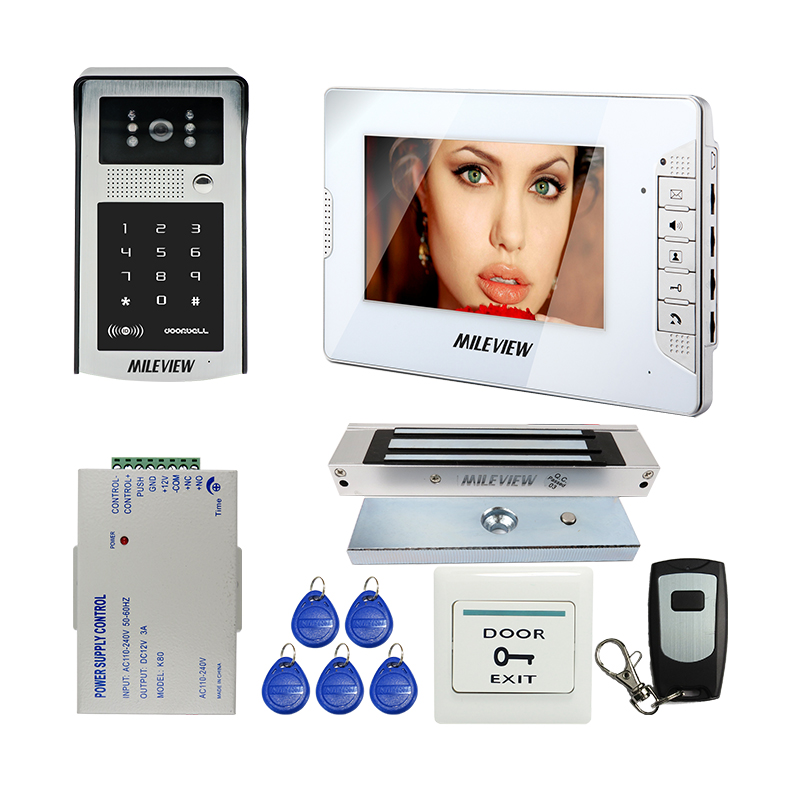 Free Shipping New 7 Video Door Phone Intercom System White Monitor 700TVL Outdoor RFID Access Code