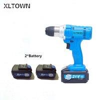 Xltown 21 в high мощная беспроводная дрель с высокой емкостью перезаряжаемая литиевая батарея электрическая отвертка электроинструмент