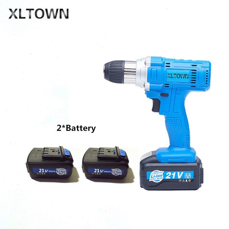 Xltown 21 v ad alta potenza trapano a batteria con batteria al litio ad alta capacità ricaricabile cacciavite Elettrico strumento di potere