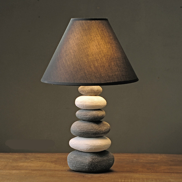 Retro Nordic Creative American Country Handmade Ceramic Stone E14  Dimmerable Table Lamp For Living Room Bedroom