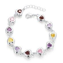 Лучшее качество красочные cz сердце дизайн звенья браслеты ювелирные