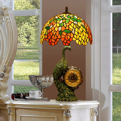 Tiffany Stain Glass Table Lamp Peacock Clock Base
