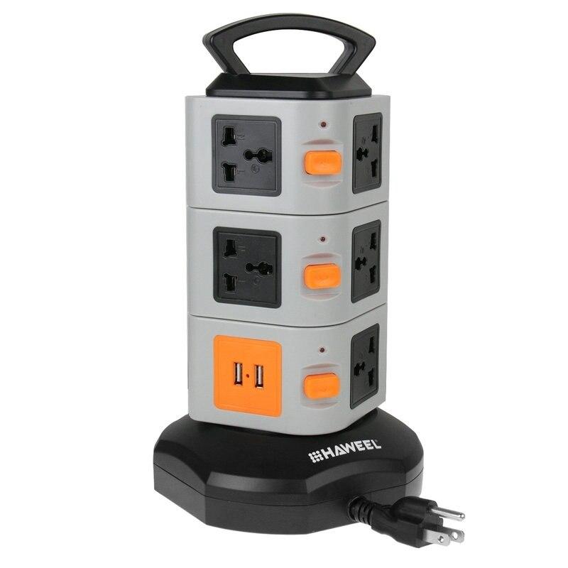 HAWEEL USB Bande de Puissance Prise Murale 11 UE/US Plug 2 USB Ports avec Interrupteur 1.8 M Rallonge Sortie Panneau Adaptateur 10A 250 V 2500 W