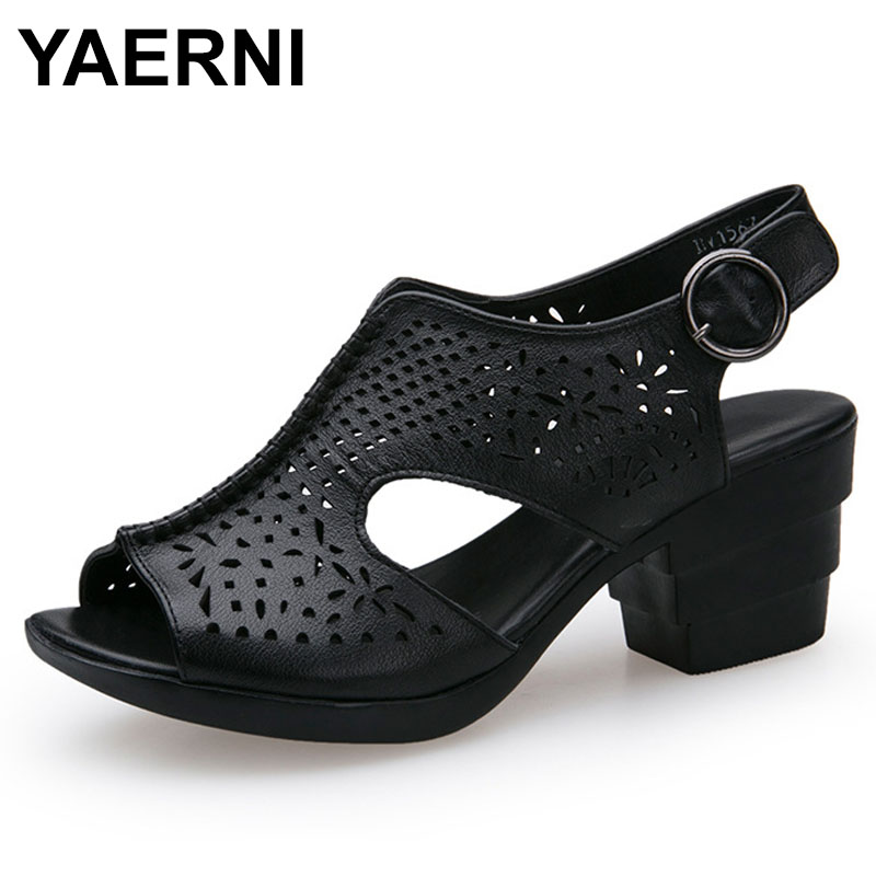 YAERNI 2018 Women Vintage Genuine Leather Sandals Ladies Chunky Heels Lady Hollow Out Shoes E590 fashionable women s sandals with platform and hollow out design