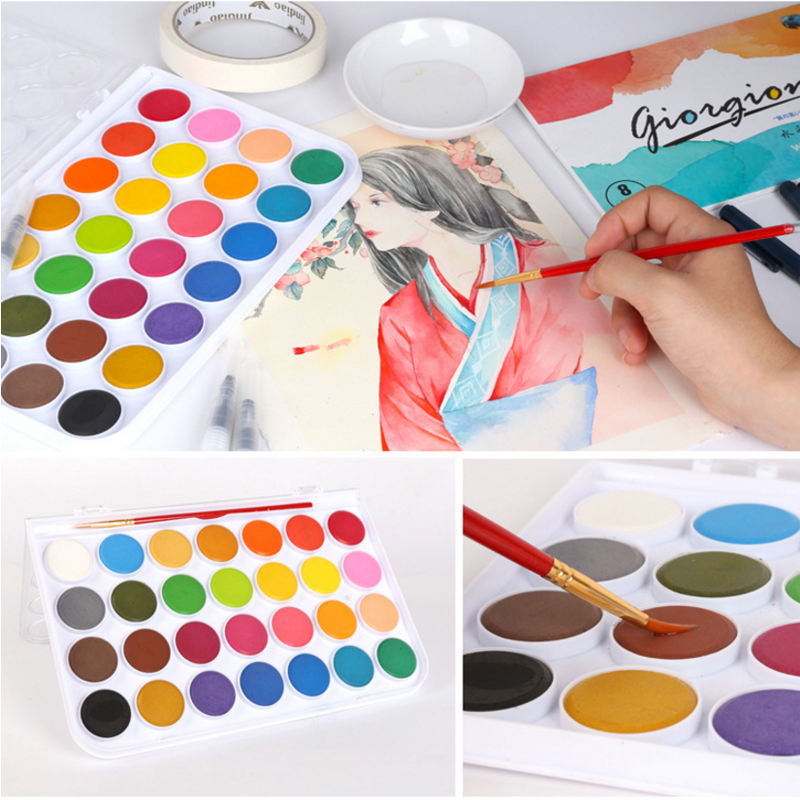 Professional Solid Watercolor Paints - Boxes of 12, 24 or 36 colors 2