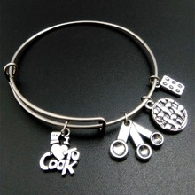 my shape DIY Making Stainless Steel Wire Bangle Bracelet Cook Measuring Spoon Muffin Pin Charm Cooking Jewelry(China)