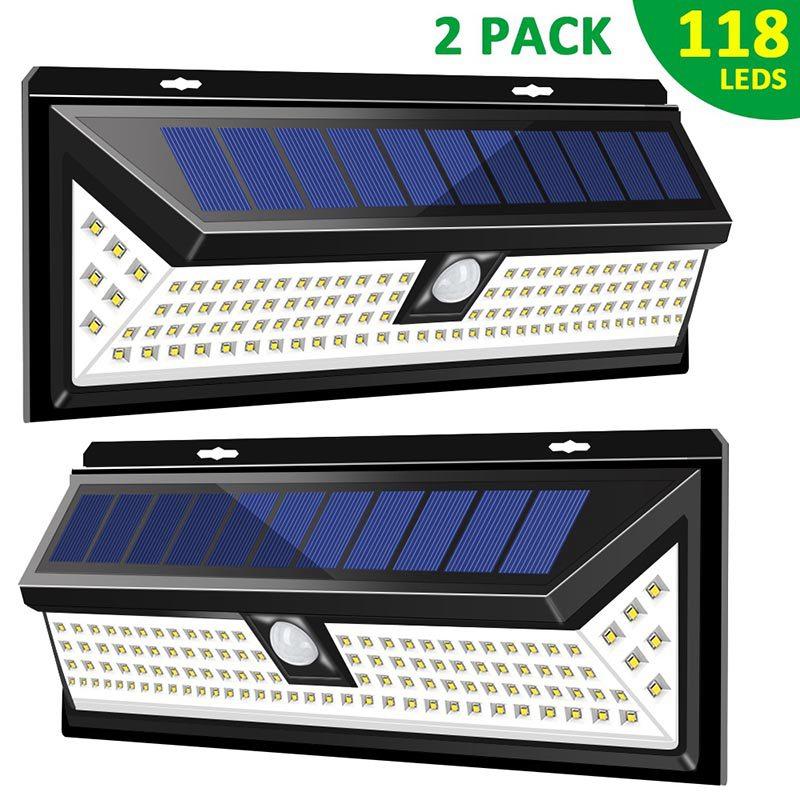 2 Pack 118 LED Lampe Solaire PIR capteur de mouvement applique murale étanche 1000LM haute luminosité Lampe de sécurité d'urgence Solaire Exterieur