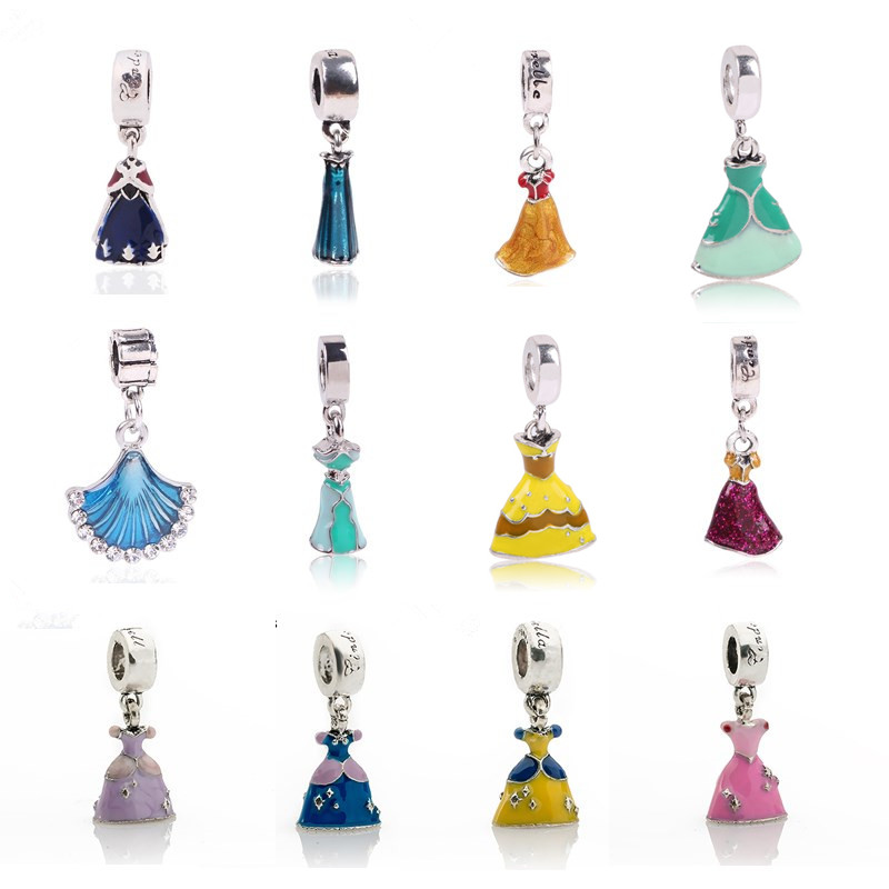 Ranqin Princess Dress Charms Dangle Bead Silver Plated