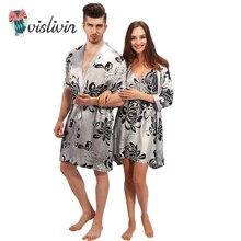 Vislivin Пара Ночное пикантные шелковые длинный халат белье трусы Ночные сорочки сна рубашки Lover халат Цветочный пижамы