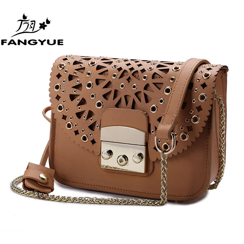 2018 new Luxury Hollow Buckle Messenger Bag Womens Shoulder Bag Small Party bags handbags women famous brands Bolsos Mujer S ...