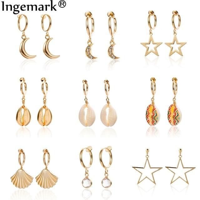 Ingemark Korean Natural Shell Drop Earrings Sweet Lvory Color Bohemian Stars Summer Conch Clip on Earring
