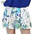 YNZZU Mujeres de Cintura Alta Sexy Floral Corto Chica de Playa de Verano Vacaciones informal Cortocircuitos Frescos Imprimir corto femme Shorts mujeres calientes YB008