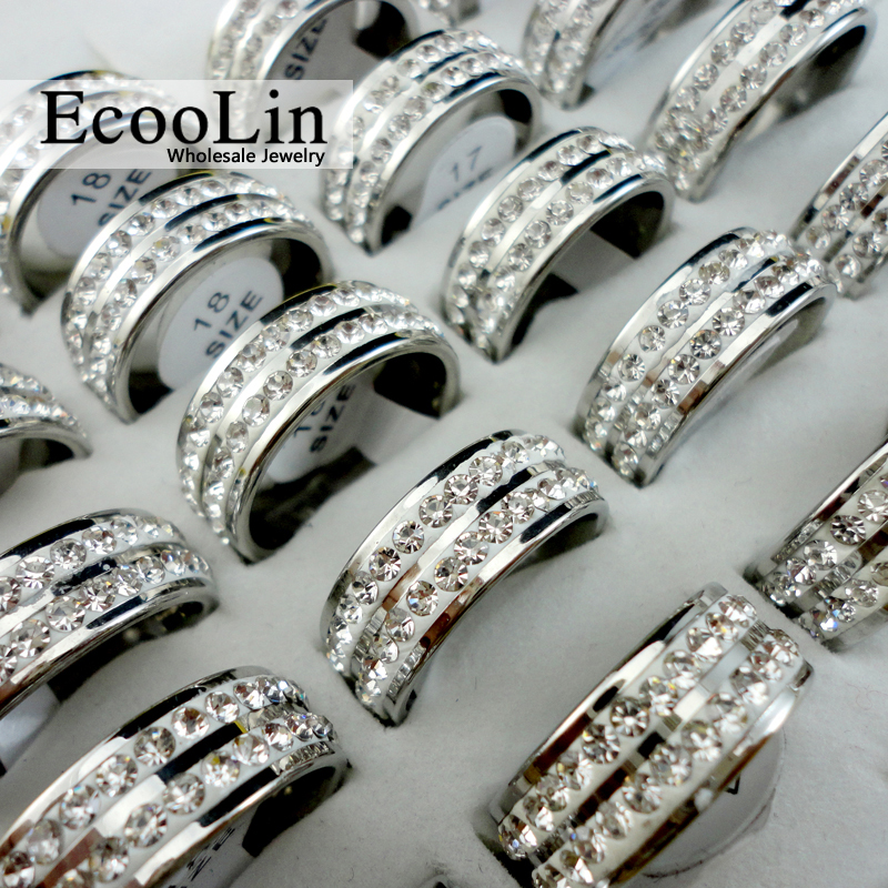 100Pcs Women Classic Cubic Zirconia 316L Stainless Steel Rings Engagement Anniversary Wedding Ring Female Jewelry Bulks Lot R066